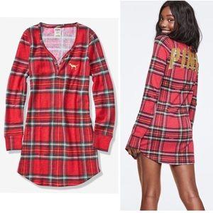 VS PINK Bling Red Plaid Cozy Sleep Dress Pajama M